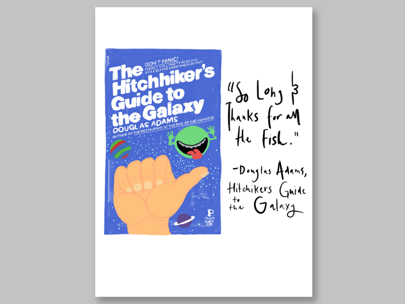 The Hitchhiker's Guide to the Galaxy Illustration illustration art illustrations book art book design book cover mockup book cover design book cover lettering book illustration