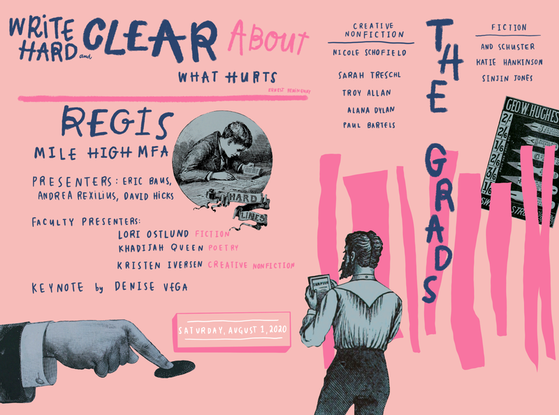 Mile High MFA graduation program illustration art handlettering lettering collage illustration design illustration