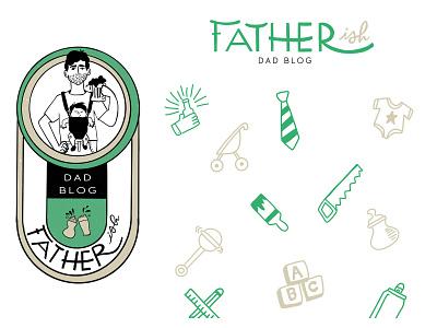Frankly Fatherish branding branding concept illustrated logo surface pattern design surface pattern pattern logo design logos branding and identity illustration logo brand identity branding design branding