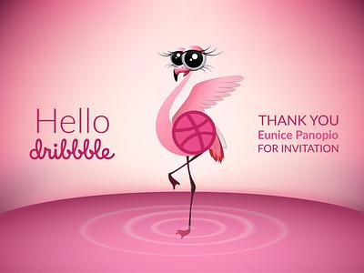Hello Dribbble flamingo thank you hello dribbble vector illustration adobe illustrator