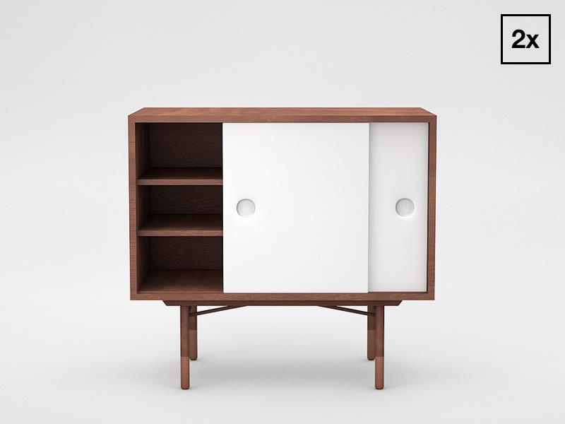 Finn Juhl Credenza interior wood cabinet c4d 3d danish design