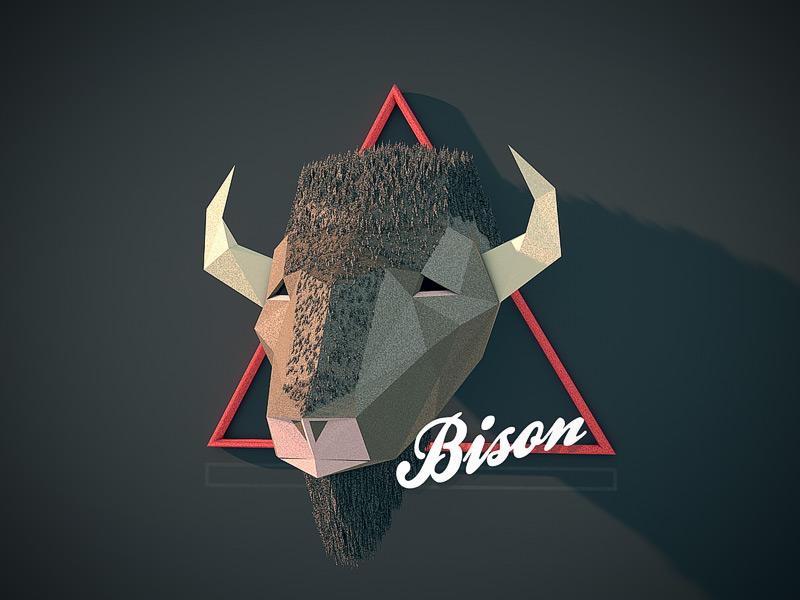 Bison c4d animal bull low poly
