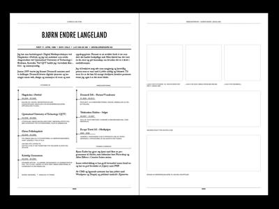 Resumé black white grid resume cv typography