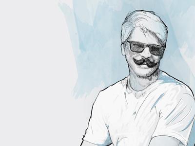 Self portrait + moustache portrait wacom sketch moustache blue grey