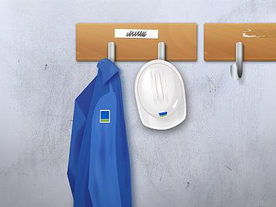 KPI illustration helmet overall wall hook