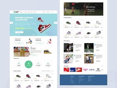 "Dribbble Debut shot: Kids e-commerce website ""Junior shoes""  UI website typography ux design web ui"