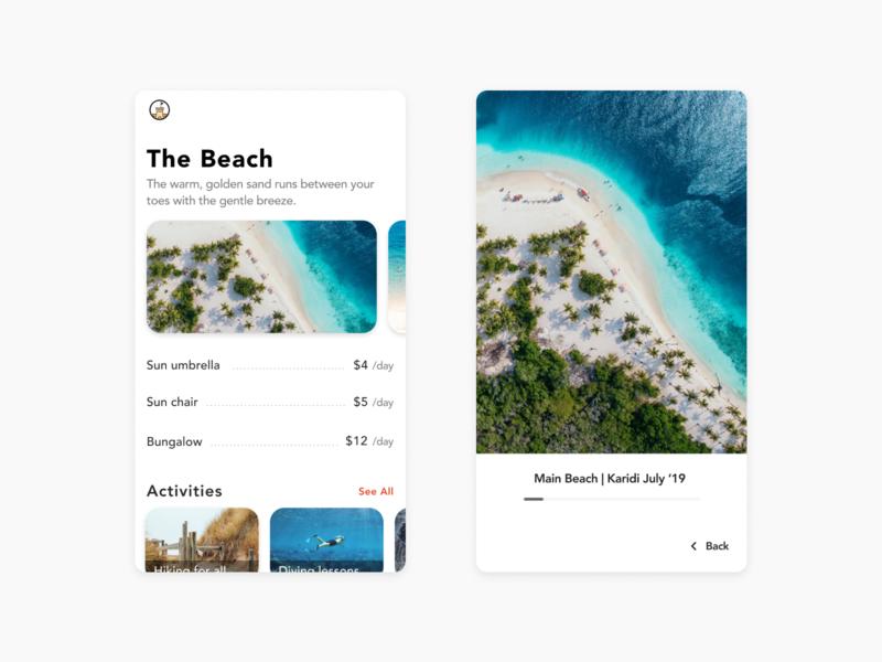 Beach App - Image Viewer detail page detailed view image viewer pipe image beach party avenir avenit app design app beach images