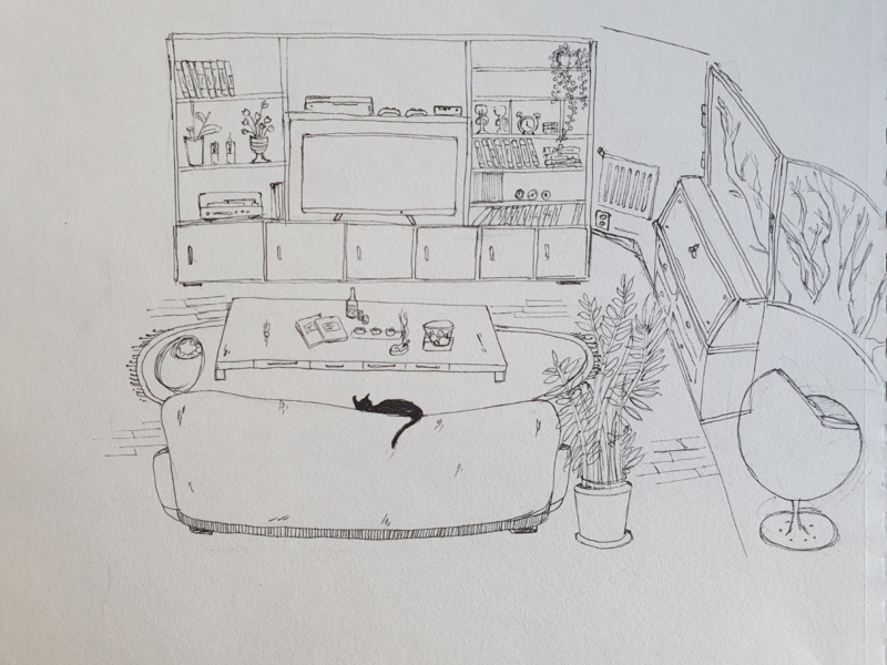 Living Room design photoshop pencil art drawing illustration
