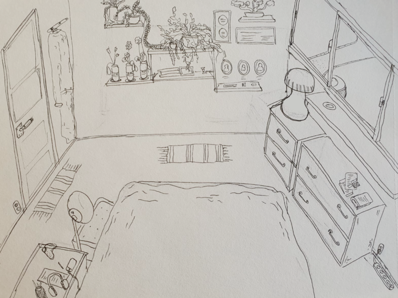 Bedroom furniture bedroom pencil illustration
