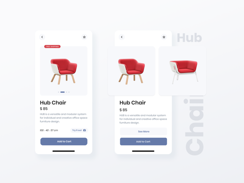 Product Page Design concept contrast product page furniture app ecommerce app uxui ecomm ios ux ui grid design app design grid layout