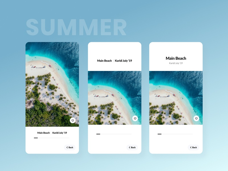 Image View - Summer Beach App imagery usability reachability photo picture image contrast ux ui grid design android app design design grid layout illustration
