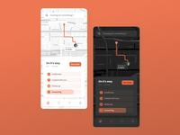 Food Delivery Map - Light & Dark ui contrast ux grid design android grid app design design grid layout illustration