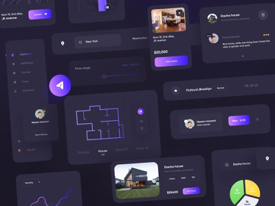 Real State Component 🏠 Dark version app ui dark dark app renting graph dark location chart search dark dark map minimal dark dark mode uiux ui real state components real state website components component real state profiles