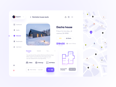 Real State Web 🏠 uiux light components dashboard profile rental renting hotel graphs map charts webdesign minimal clean uxui ux website design real state