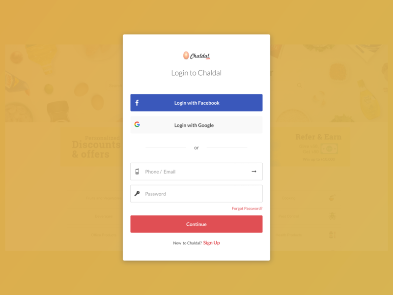 Sign Up & Sign In Form for Chaldal Website - DailyUI001 ingridable flat weekly ui challenge daily ui inspiration daily ui dribbble daily 100 challenge daily 100 login page login form login box signupform sign in page sign in web ux ui
