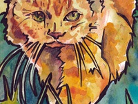 Watercolor of an Orange Cat