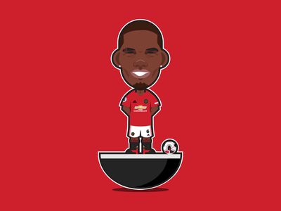 Paul Pogba Subbuteo shapes paul pogba manchester united mufc symbol midfielder subbuteo france pogba epl bpl outline 2d soccer football flat icon character design illustration