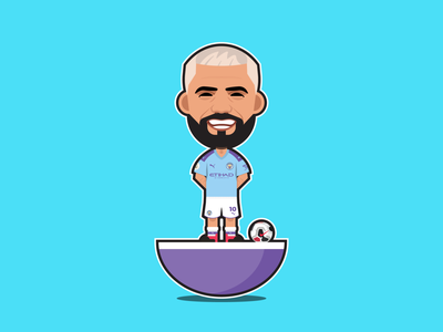 Sergio Agüero Subbuteo sergio aguero icon vector art premier league mcfc portrait aguero manchestercity man city bpl outline illustrator soccer football flat character simple vector design illustration