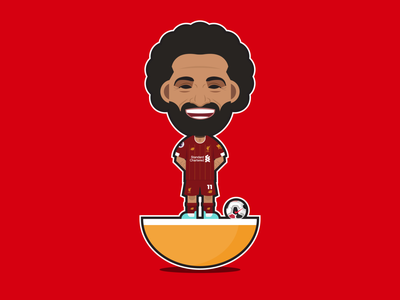 Mohamed Salah Subbuteo lfc liverpool mo salah shapes logo illustrator soccer football flat character icon vector design illustration