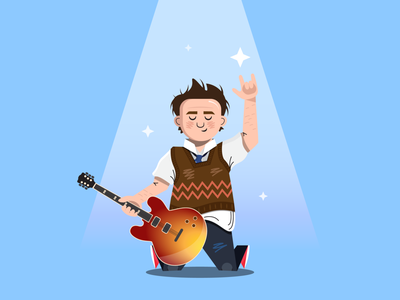 Stick it to the man musical alex brightman jack black band school music show broadway school of rock adobe flat shapes outline illustrator character simple icon vector design illustration