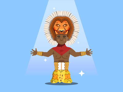 He lives in you 2d stars ai light broadway lionking king lion series shapes illustrator character flat simple icon vector design illustration