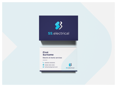 SS.Electrical Business Cards background vector typogaphy business cards simple shape outline logo lightning bolt illustration icon electricity design colour palette branding bolt blue ai adobe illustrator 2d