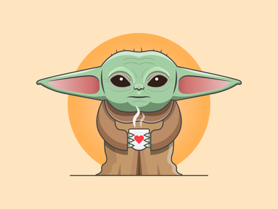 Baby Yoda jedi mandalorian stroke the force logo green illustrator flat simple smile cute character disney baby yoda yoda star wars starwars vector design illustration