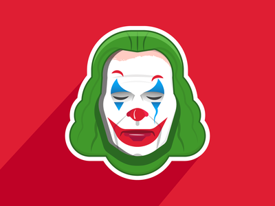 Joker smile laugh villain superhero movie film joaquin phoenix joker movie joker dc batman comic clown flat character icon simple vector design illustration