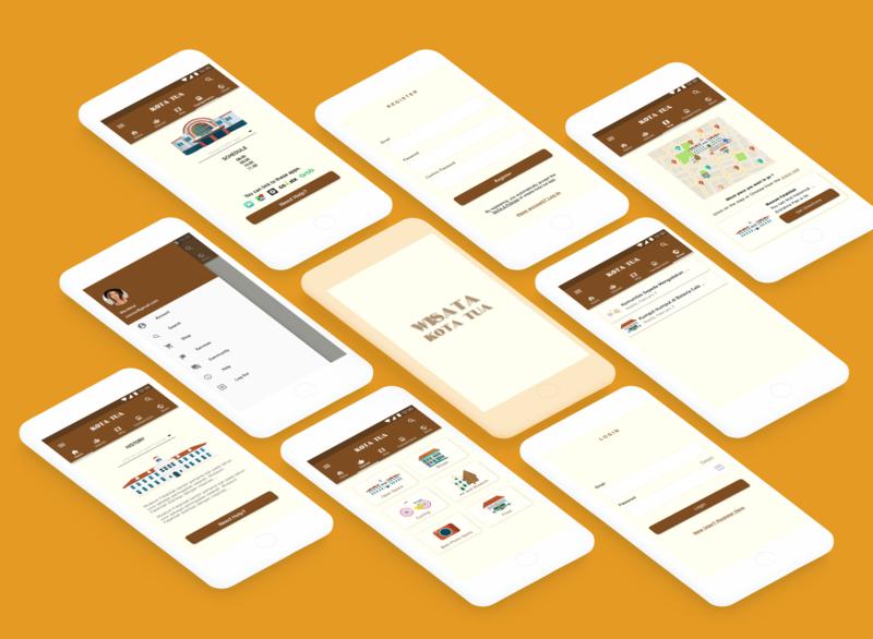 Wisata kota tua Concept App Design tourist retro android app illustration app ux ui