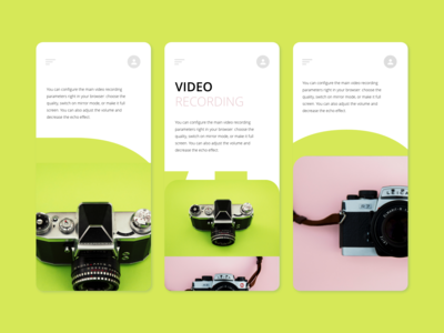 Video Camera Mobile UI Landing Page