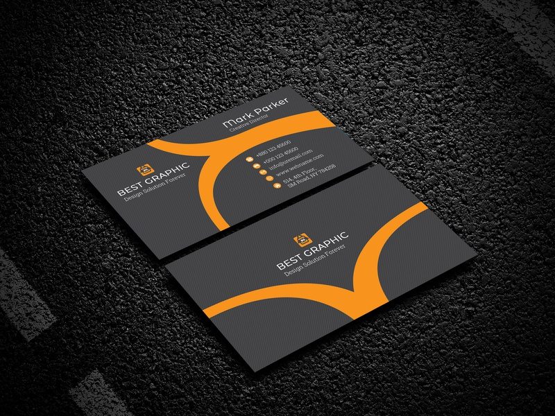 Business Card smart simple professional pro print ready pattern orange name card elegant designer creative  design corporate colorful