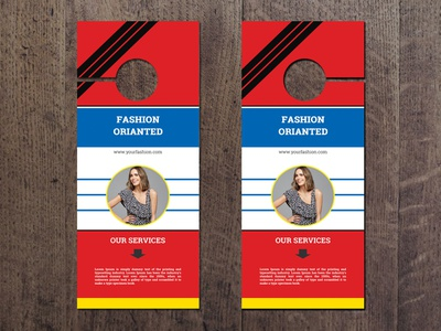 Corporate Door Hanger smart simple professional pro print ready pattern orange name card elegant designer creative  design corporate colorful