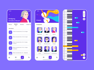 Music Learning App concept mobile design mobile app mobile learning app learning piano music app music ui  ux mentalstack illustration vector app ui design ui
