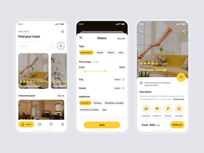 Booking app mobile ui hotels booking concept mobile app mobile mentalstack app uidesign ui design