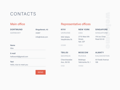Contacts page