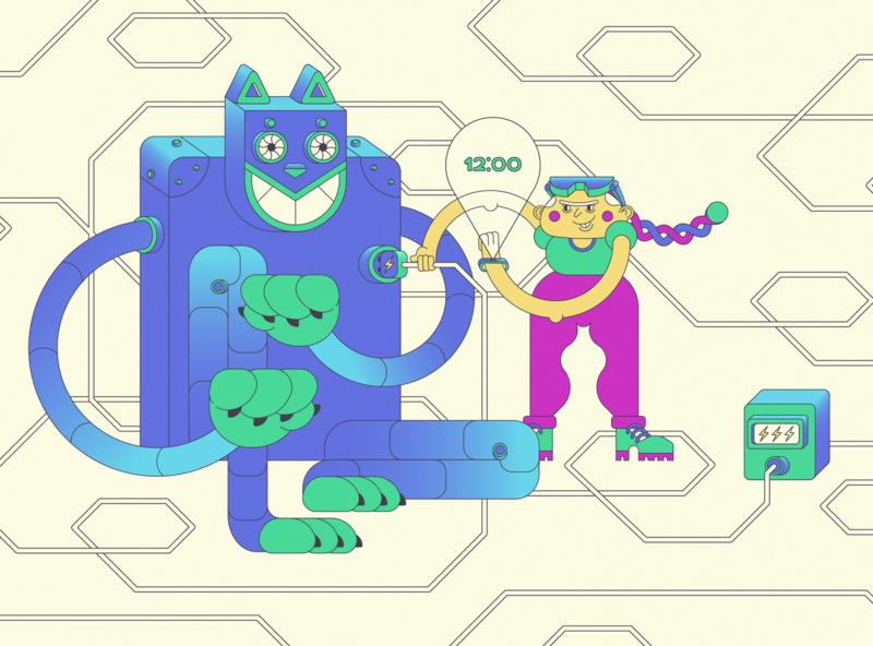 Cat Energy illustration energy cartoon character robot cat vector character design adobe illustrator