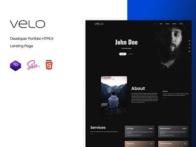 Velo - Developer Portfolio HTML5 Template web uiux ui uxui ux responsive portfolio mobile html5 freelancer framework development design sass css template landingpage landing clean bootstrap