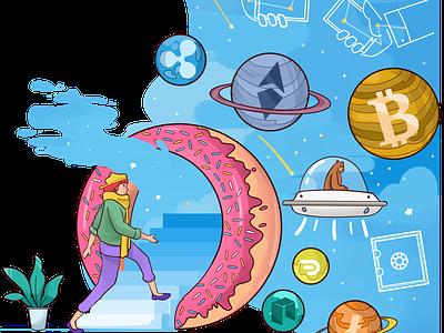 Donut Entry Crytpo Space design web illustration illustration