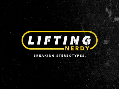 Lifting Nerdy logotype stencil texture black and yellow identity branding typography vector logo nerdy lifting stereotype