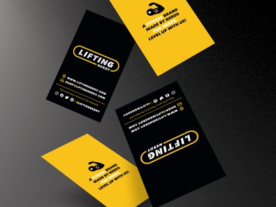 Lifting Nerdy Business Card Design design illustration branding stationery game controller level up apparel logo word mark yellow logo nerd icon vector fitness video game bicep business card yellow black