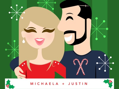 Michaela + Justin illustration snowflake mistletoe candy cane christmas card christmas commision portrait couple design colorful simple red illustrator vector retro