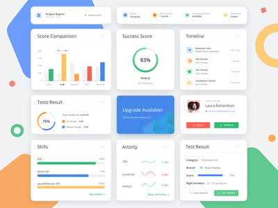 Devskiller UI Elements figma sketch application developer it business percent uidesign system ux app web illustration bright simple graph elements dashboard design ui