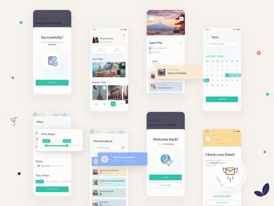 Trip Planning Application trip planner travelling travel app ios profile filter range calendar planner trip travel app clean bright illustration art minimal ux ui design