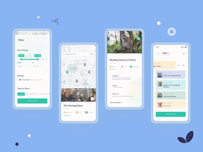 🌴 TripCo planner map list trip travel app travel app bright illustration art minimal ux ui design