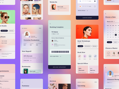 BookMe App timing spa fashion branding gradient clean ux art illustration bright design ui promo master services beauty calendar wallet booking app