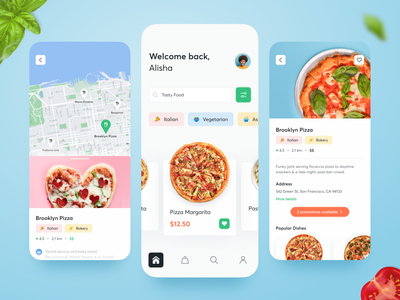 Food Delivery 🍕 delivery service dish illustration bright color clean ui pizza eat delivery app designs food delivery typography clean app bright art ux ui design