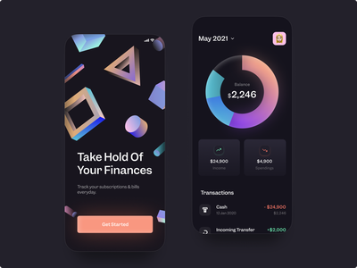 Personal Finances App 💸 gradient dark ui dark bright banking bank app finance app typography minimalist geometry money balance art graph bank finance app ux ui design