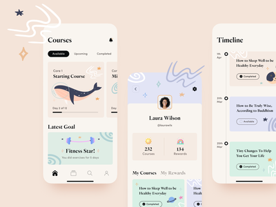 Mindful App profile light typography health app mental health app design ios app ios app design ios clean vector app illustration bright minimal art ux ui design