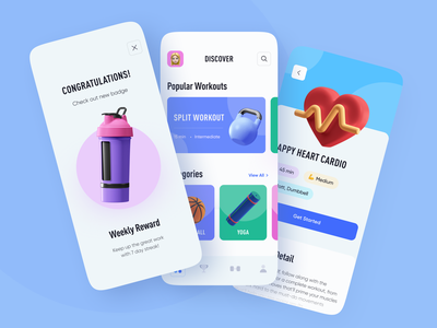 Sport App app reward mobile ui colors workout ios uidesign uiux mobile bright minimal ux ui design