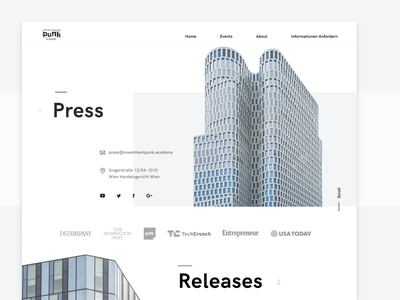 Press Page webdesign website landing golden ratio white german scandinavian architecture branding typography minimalistic clean business web minimal design ux finance education ui
